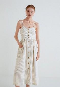 Платье, Mango, цвет: белый. Артикул: MA002EWBUDW3. Одежда / Платья и сарафаны