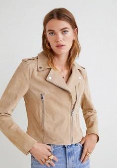 Куртка кожаная, Mango, цвет: бежевый. Артикул: MA002EWBVXC2. Одежда / Верхняя одежда / Косухи