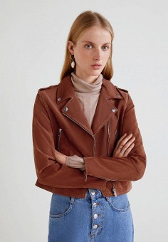 Куртка кожаная, Mango, цвет: коричневый. Артикул: MA002EWBVXD1. Одежда / Верхняя одежда / Косухи