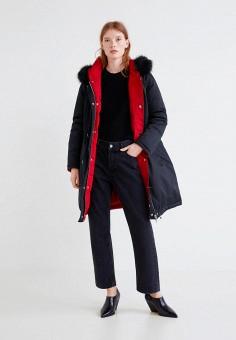 Пуховик, Mango, цвет: красный, черный. Артикул: MA002EWCBVM8. Одежда / Верхняя одежда / Зимние куртки