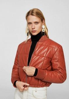 Куртка, Mango, цвет: красный. Артикул: MA002EWZTS46. Одежда / Верхняя одежда / Кожаные куртки