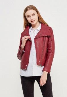 Куртка кожаная, Mango, цвет: бордовый. Артикул: MA002EWZTS66. Одежда / Верхняя одежда / Кожаные куртки