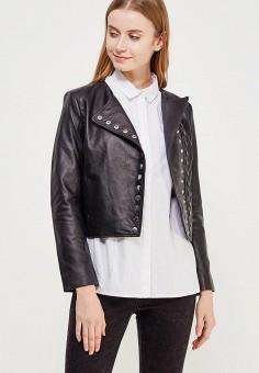 Куртка кожаная, Mango, цвет: черный. Артикул: MA002EWZTS84. Одежда / Верхняя одежда / Кожаные куртки
