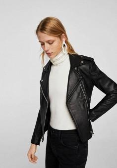 Куртка кожаная, Mango, цвет: черный. Артикул: MA002EWZTS96. Одежда / Верхняя одежда / Кожаные куртки