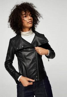 Куртка кожаная, Mango, цвет: черный. Артикул: MA002EWZTS97. Одежда / Верхняя одежда / Кожаные куртки