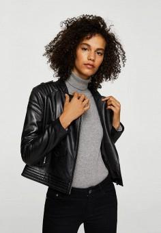Куртка кожаная, Mango, цвет: черный. Артикул: MA002EWZZM23. Одежда / Верхняя одежда / Кожаные куртки