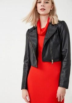 Куртка кожаная, Max&Co, цвет: черный. Артикул: MA111EWZUN26. Одежда / Верхняя одежда