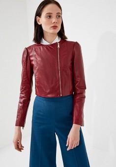 Куртка кожаная, Max&Co, цвет: бордовый. Артикул: MA111EWZUN27. Одежда / Верхняя одежда