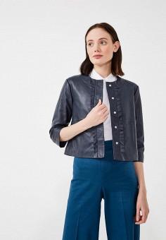 Куртка кожаная, Max&Co, цвет: синий. Артикул: MA111EWZUN32. Одежда / Верхняя одежда