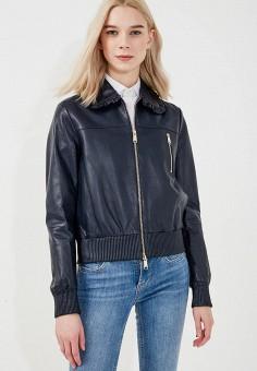 Куртка кожаная, Max&Co, цвет: синий. Артикул: MA111EWZUN35. Одежда / Верхняя одежда