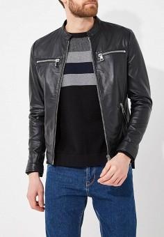 Куртка кожаная, Marciano Los Angeles, цвет: черный. Артикул: MA176EMAUXM2. Одежда / Верхняя одежда / Кожаные куртки