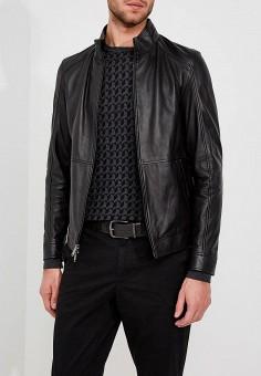 Куртка кожаная, Michael Kors, цвет: черный. Артикул: MI186EMZLO32. Одежда / Верхняя одежда / Кожаные куртки