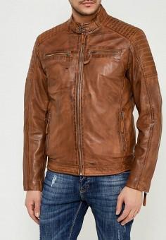 Куртка кожаная, Blue Monkey, цвет: коричневый. Артикул: MP002XM0W53W. Одежда / Верхняя одежда / Кожаные куртки