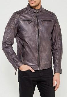 Куртка кожаная, Blue Monkey, цвет: серый. Артикул: MP002XM0W53Y. Одежда / Верхняя одежда / Кожаные куртки