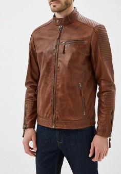 Куртка кожаная, Blue Monkey, цвет: коричневый. Артикул: MP002XM0YH2H. Одежда / Верхняя одежда / Кожаные куртки