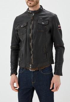 Куртка кожаная, Blue Monkey, цвет: коричневый. Артикул: MP002XM0YH2J. Одежда / Верхняя одежда / Кожаные куртки