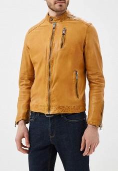 Куртка кожаная, Blue Monkey, цвет: желтый. Артикул: MP002XM0YH2L. Одежда / Верхняя одежда / Кожаные куртки