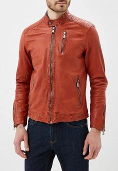 Куртка кожаная, Blue Monkey, цвет: оранжевый. Артикул: MP002XM0YH2M. Одежда / Верхняя одежда / Кожаные куртки