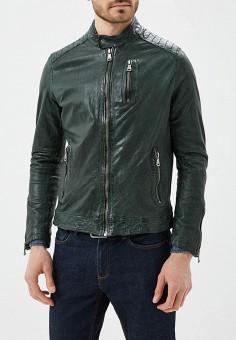 Куртка кожаная, Blue Monkey, цвет: зеленый. Артикул: MP002XM0YH2O. Одежда / Верхняя одежда / Кожаные куртки