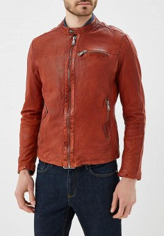 Куртка кожаная, Blue Monkey, цвет: оранжевый. Артикул: MP002XM0YH2P. Одежда / Верхняя одежда / Кожаные куртки