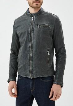 Куртка кожаная, Blue Monkey, цвет: серый. Артикул: MP002XM0YH2Q. Одежда / Верхняя одежда / Кожаные куртки