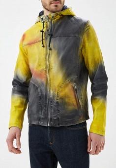 Куртка кожаная, Blue Monkey, цвет: желтый. Артикул: MP002XM0YH2S. Одежда / Верхняя одежда / Кожаные куртки