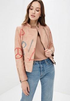 Куртка кожаная, Blue Monkey, цвет: розовый. Артикул: MP002XW0IXL6. Одежда / Верхняя одежда / Косухи