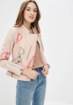 Куртка кожаная, Blue Monkey, цвет: розовый. Артикул: MP002XW0IXL7. Одежда / Верхняя одежда / Косухи