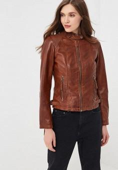 Куртка кожаная, Blue Monkey, цвет: коричневый. Артикул: MP002XW0IXLE.