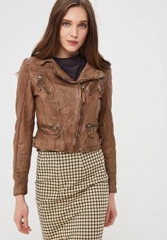 Куртка кожаная, Blue Monkey, цвет: коричневый. Артикул: MP002XW0IXLM. Одежда / Верхняя одежда / Косухи