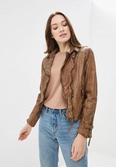 Куртка кожаная, Blue Monkey, цвет: коричневый. Артикул: MP002XW0IXLP. Одежда / Верхняя одежда / Косухи