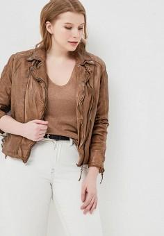 Куртка кожаная, Blue Monkey, цвет: коричневый. Артикул: MP002XW0IXLQ. Одежда / Верхняя одежда / Косухи