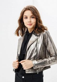 Куртка кожаная, La Reine Blanche, цвет: серебряный. Артикул: MP002XW16736.