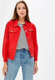 Куртка джинсовая, Fashion.Love.Story, цвет: красный. Артикул: MP002XW19GDQ. Одежда / Верхняя одежда / Джинсовые куртки