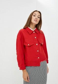 Куртка джинсовая, Fashion.Love.Story, цвет: красный. Артикул: MP002XW1GNHV. Одежда / Верхняя одежда / Джинсовые куртки