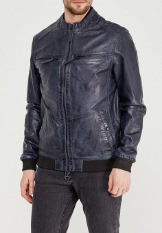 Куртка кожаная, Mustang, цвет: синий. Артикул: MU454EMABHZ4. Одежда / Верхняя одежда / Кожаные куртки