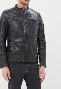 Куртка кожаная, Mustang, цвет: черный. Артикул: MU454EMZZT48. Одежда / Верхняя одежда / Кожаные куртки