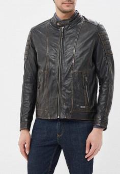 Куртка кожаная, Mustang, цвет: коричневый. Артикул: MU454EMZZT49. Одежда / Верхняя одежда / Кожаные куртки