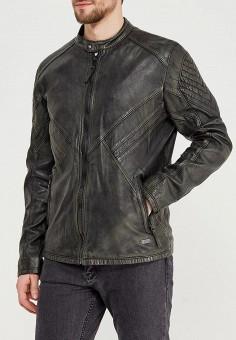 Куртка кожаная, Mustang, цвет: хаки. Артикул: MU454EMZZT50. Одежда / Верхняя одежда / Кожаные куртки