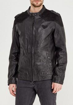 Куртка кожаная, Mustang, цвет: черный. Артикул: MU454EMZZT51. Одежда / Верхняя одежда / Кожаные куртки