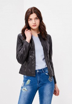 Куртка кожаная, Naf Naf, цвет: черный. Артикул: NA018EWZJQ63. Одежда / Верхняя одежда