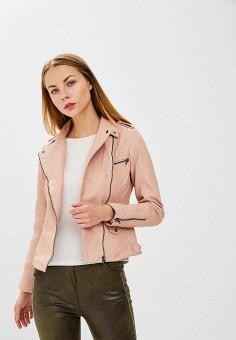 Куртка кожаная, Naf Naf, цвет: розовый. Артикул: NA018EWZJQ66. Одежда / Верхняя одежда / Косухи