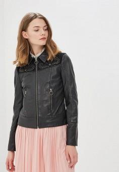 Куртка кожаная, Naf Naf, цвет: черный. Артикул: NA018EWZJQ67. Одежда / Верхняя одежда