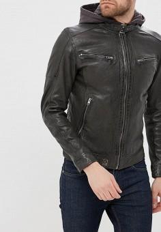 Куртка кожаная, Oakwood, цвет: коричневый. Артикул: OA002EMAFPO5. Одежда / Верхняя одежда / Кожаные куртки