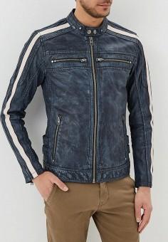Куртка кожаная, Oakwood, цвет: синий. Артикул: OA002EMAFPO6. Одежда / Верхняя одежда / Кожаные куртки