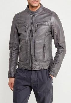 Куртка кожаная, Oakwood, цвет: серый. Артикул: OA002EMAFPO7. Одежда / Верхняя одежда / Кожаные куртки