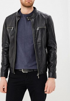 Куртка кожаная, Oakwood, цвет: черный. Артикул: OA002EMAFPO9. Одежда / Верхняя одежда / Кожаные куртки