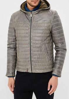 Куртка кожаная, Oakwood, цвет: серый. Артикул: OA002EMAFPP1. Одежда / Верхняя одежда / Кожаные куртки
