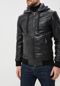 Куртка кожаная, Oakwood, цвет: черный. Артикул: OA002EMBSVC0. Одежда / Верхняя одежда / Кожаные куртки