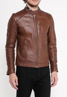 Куртка кожаная, Oakwood, цвет: коричневый. Артикул: OA002EMPPL29. Одежда / Верхняя одежда / Кожаные куртки